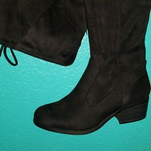 Wide Black Thigh High // Over the Knee Boots